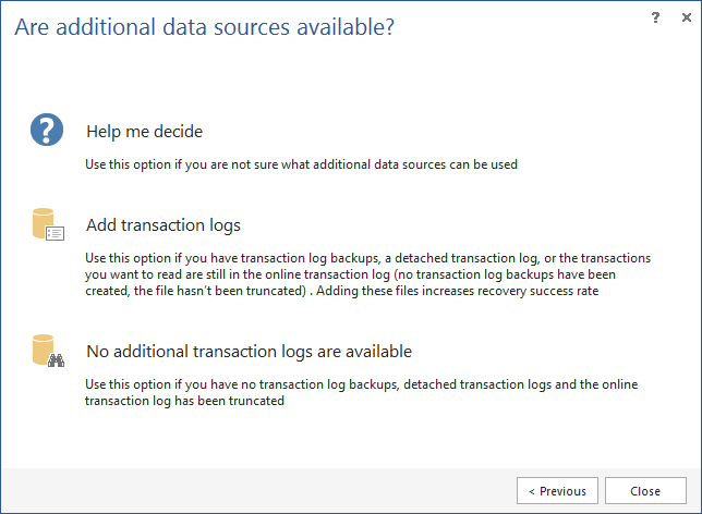 Selecting the additional data sources (if any) using one of the recovery wizards found in ApexSQL Recover