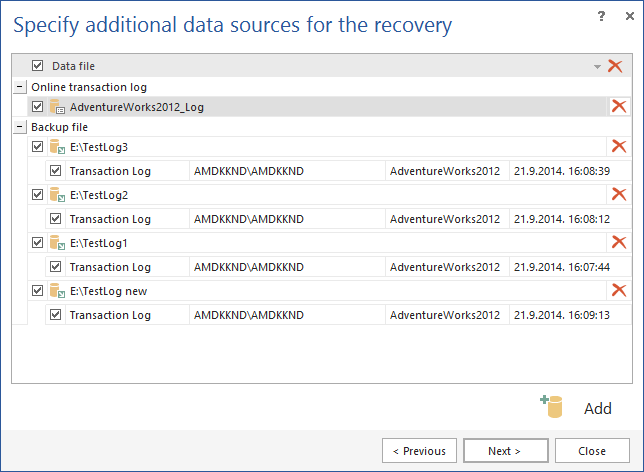 Specifying additional data sources for the recovery