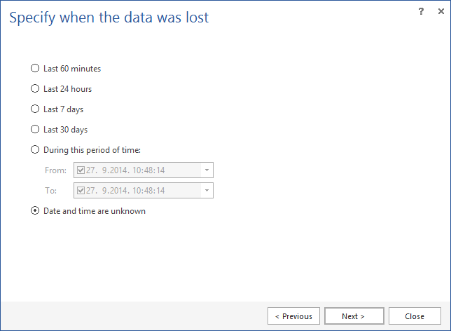 Specifying the date and time when the data was lost