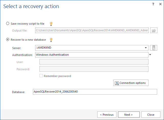 Recover database - Selecting to recover data to a new database
