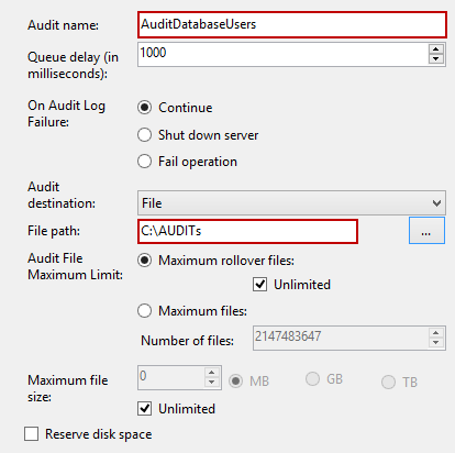 Specifying path and name for a new SQL Server Audit