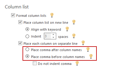 Both options for formatting commas are found in column lists tab