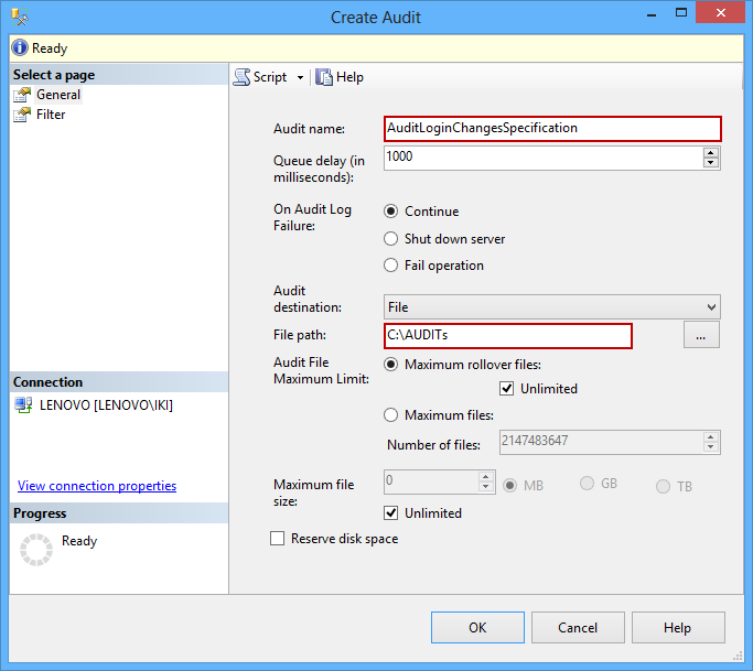 Creating new audit - specifying audit name and path
