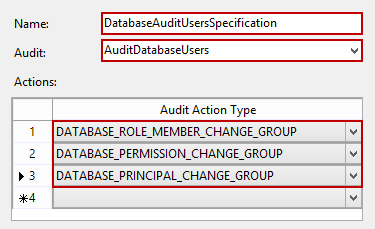 Setting the name of the new database audit specification and Audit Action Type rows