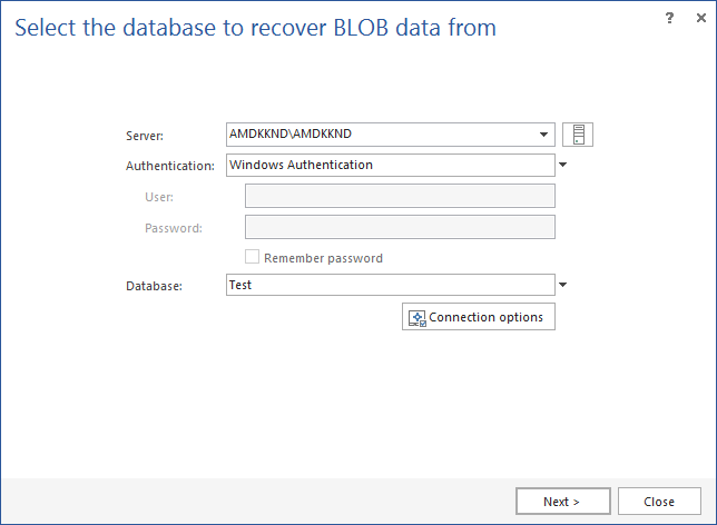 Selecting the database to recover BLOB data from