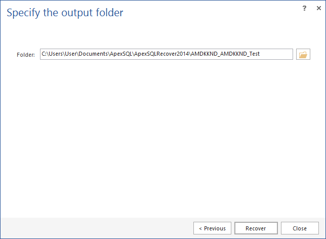 Specifying the output folder