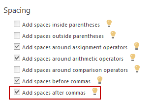 Choosing the Add spaces after commas option
