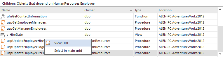 An option to see the DDL statement of the referencing object