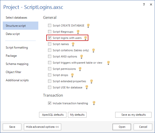 Transfer SQL logins using ApexSQL Script