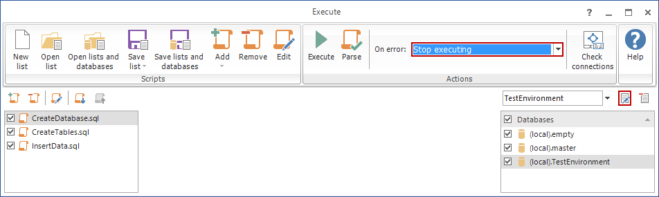 Edit database deployment list dialog