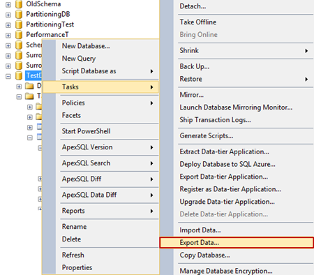 SQL Server Import and Export Wizard - selecting the Export data command