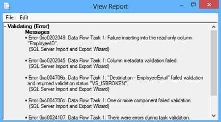 View report dialog
