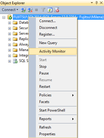 Selecting the Activity Monitor in SSMS