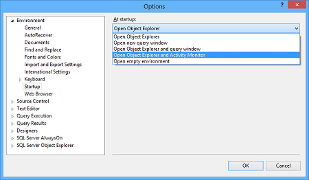 Selecting the Open Object Explorer and Activity Monitor in the At startup field
