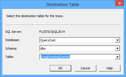 Selecting the destination table for the trace