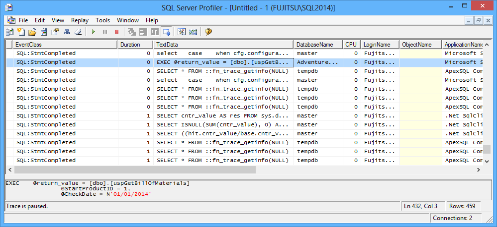 The SQL Server Profiler window