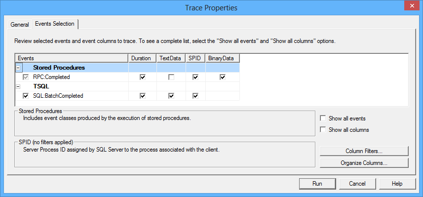 Trace properties dialog