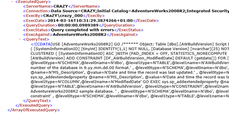 The ExecutedQueries.xml file - viewing the file in the Internet Explorer