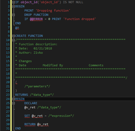 Snippet in a query editor