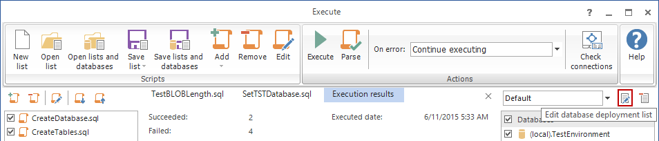 Click the Edit database deployment list button