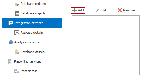 The Integration services tab