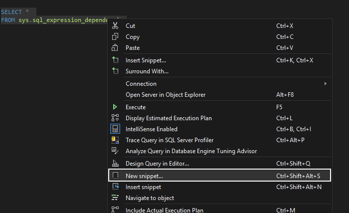 The New snippet command from the context menu