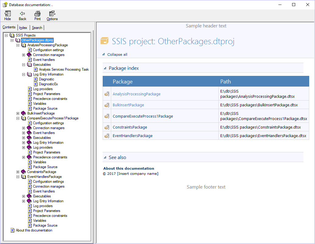 How to create SSIS package documentation