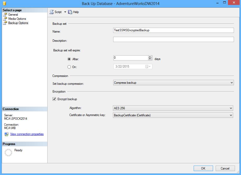 SQL Server database backup encryption