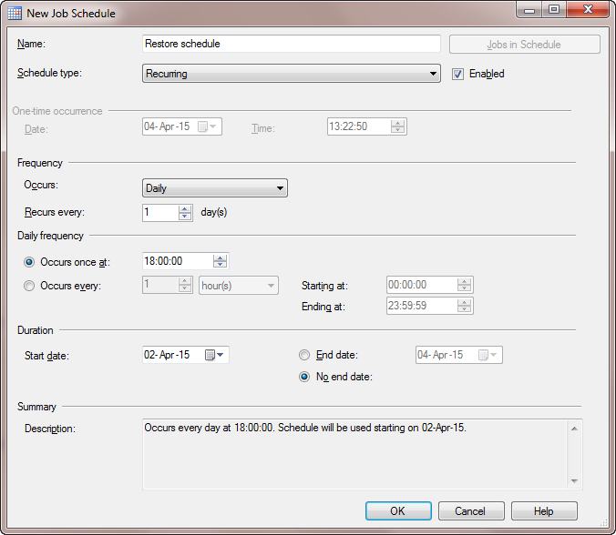 How to schedule a database backup restore in SQL Server