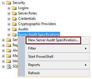Selecting the New Server Audit Specification option