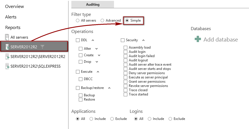 Simple radio button filter type