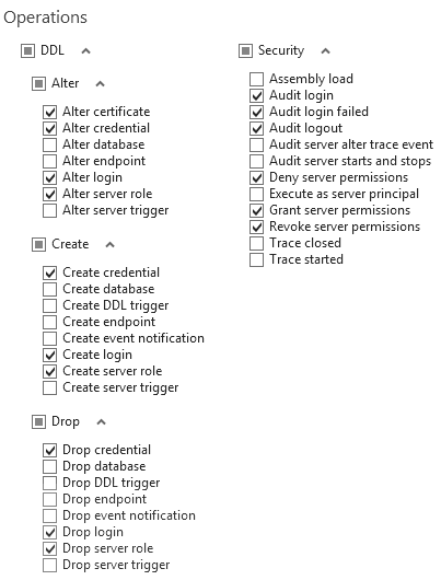 Filter settings for the server-level auditing
