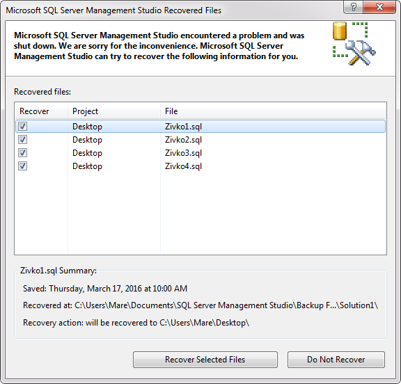 Retrieve unsaved SQL query scripts due to SQL Server Management