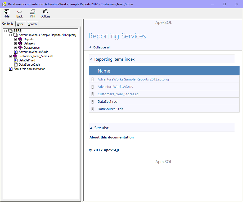 SQL Server reporting services (SSRS) documentation