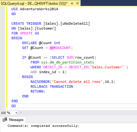 Previously there was no triggers defined on the Sales.Customer table. After refreshing the triggers the new one is listed  sc 1 st  Solution center - ApexSQL & How to prevent accidental data loss from executing a query in SQL ...