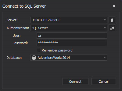 Connect to SQL Server dialog