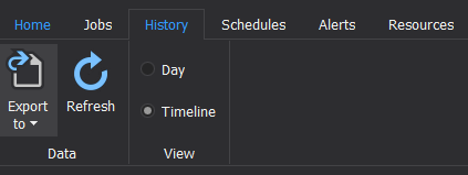 The History tab of the ApexSQL Job