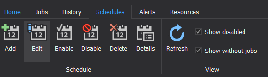 The Schedules tab of the ApexSQL Job