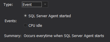 SQL job event schedule