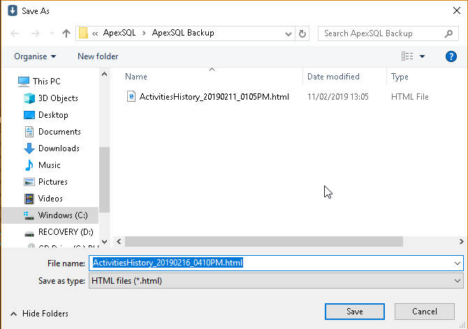 Exporting SQL Server database backup information to HTML