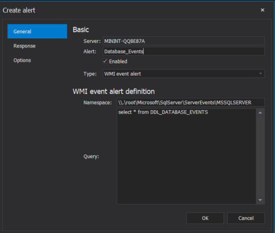 SQL Agent WMI event alert general detail configuration