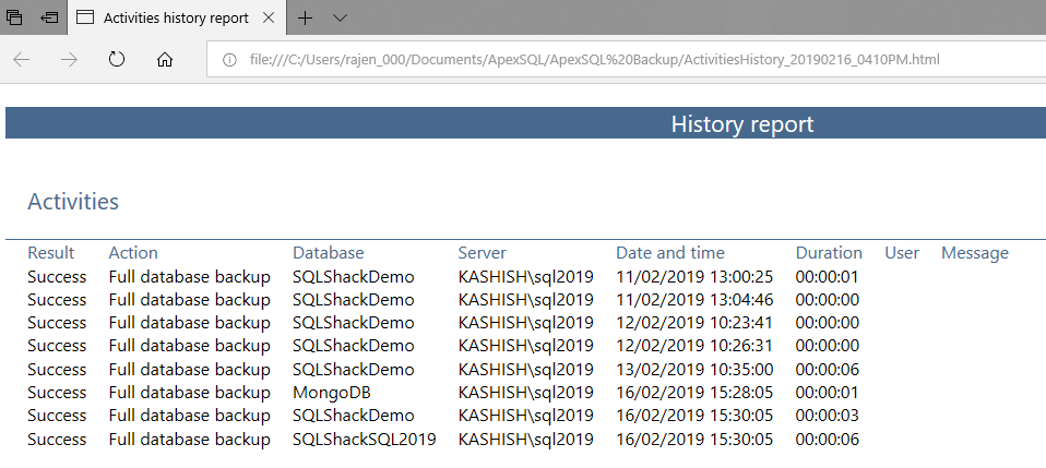 SQL Server database backup information to HTML report