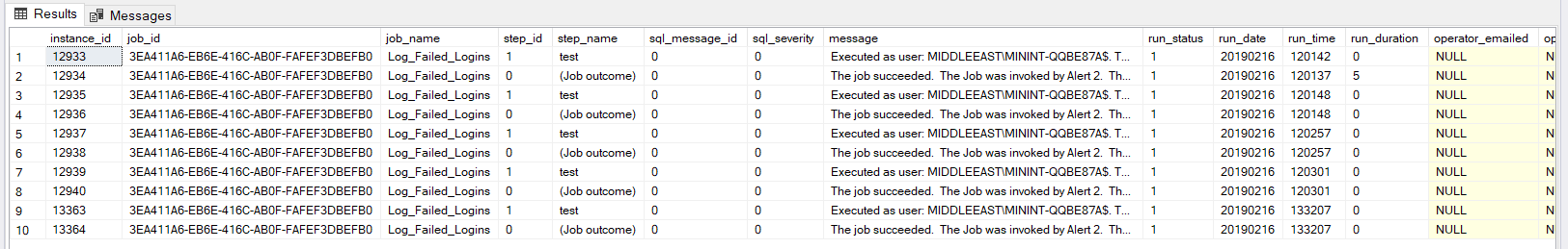 Detailed historical information of the SQL Server Agent job, returned from the sp_help_jobhistory_full system stored procedure