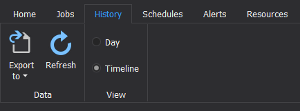Timeline view of SQL Agent Jobs in History tab