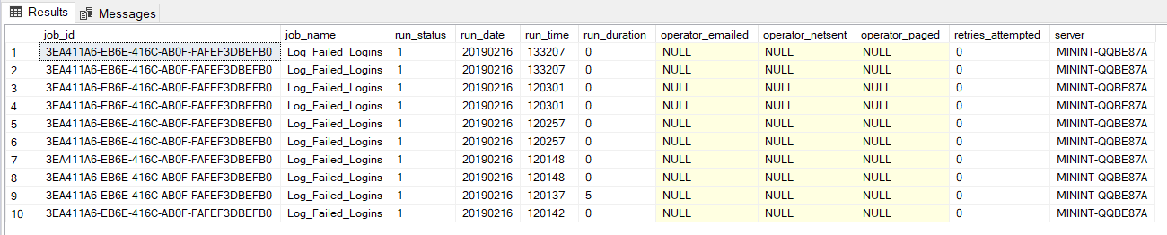 SQL Server Agent job history returned from that system stored procedure