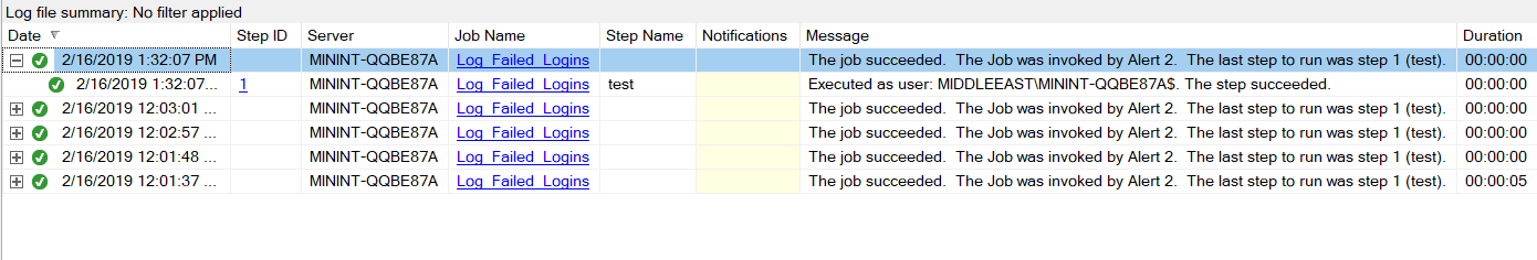 SQL Serve job history details with execution information for each step