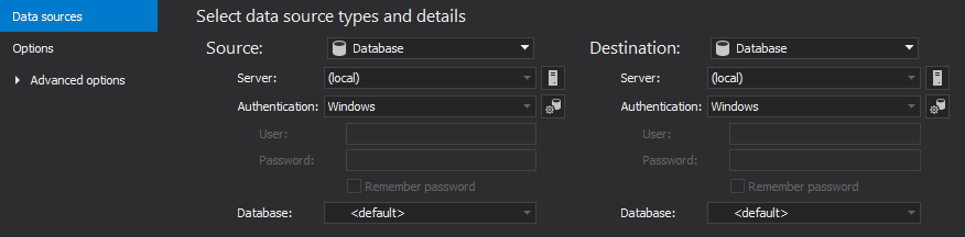 The Data sources tab used for setting up source and destination data sources