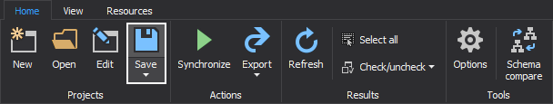 The Save button for saving current project