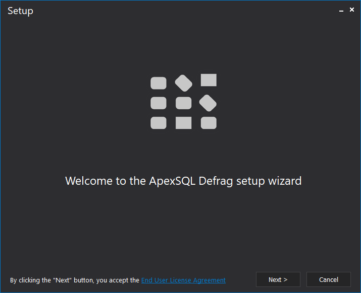 ApexSQL Defrag Installation wizard Welcome