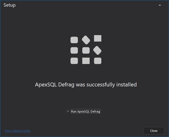 ApexSQl Defrag Installed successfully